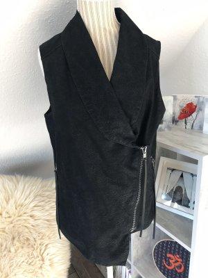 H&M Divided Leren vest zwart Imitatie leer