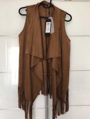 Only Leather Vest cognac-coloured