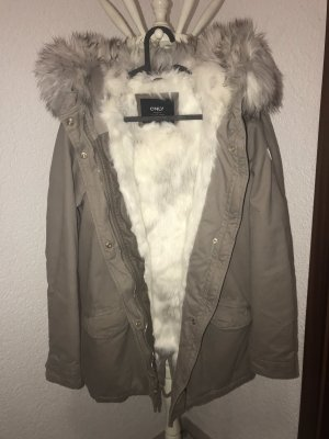 Only Fake Fur Jacket beige-white