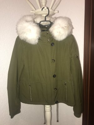 Topshop Fake Fur Jacket white-khaki