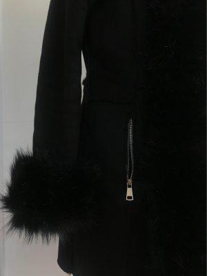 Made in Italy Abrigo de piel sintética negro piel artificial