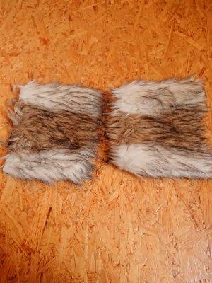 Legwarmers light brown-beige fake fur
