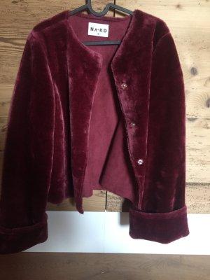 NA-KD Fake Fur Jacket bordeaux