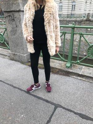 Zara Manteau de fourrure beige clair