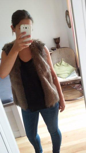 H&M Divided Fake Fur Jacket brown