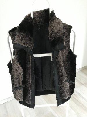 Vest van imitatiebont zwart-grijs-bruin