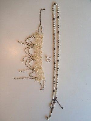 Kunstperlen Perlenkette Collier Choker Wiesn Oktoberfest Chanel-Optik Ohrringe