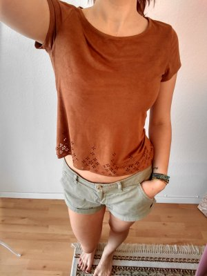 T-shirt court brun-cognac