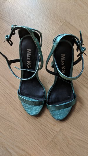 Kurt Geiger Strapped High-Heeled Sandals neon green-cadet blue leather