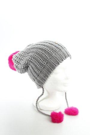 Kurt Geiger Chapeau en tricot gris-rose style mode des rues