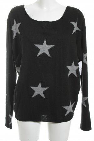 Kurt Kölln Knitted Sweater black-grey star pattern casual look