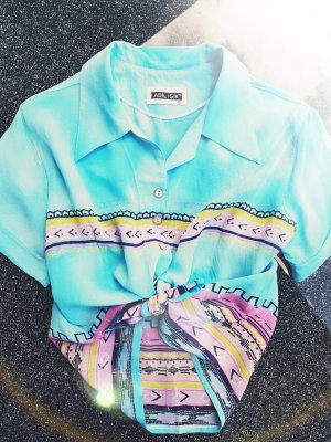 Camicia a maniche corte multicolore