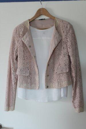 Kurz-Blazer aus rosefarbener Spitze
