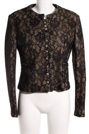 Kurz-Blazer beige-schwarz florales Muster Elegant