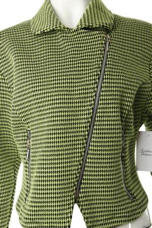 Kurz-Blazer grasgrün-schwarz Webmuster 80ies-Stil