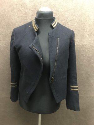 H&M Tweed blazer donkerblauw-goud Oranje