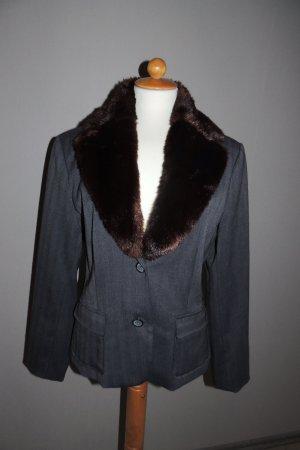 Kurz-Blazer mit Pelz-kragen