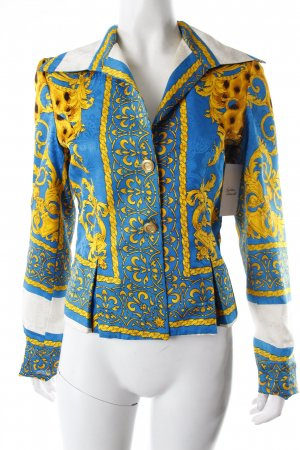 Short-Blazer turquoise-yellow patterned