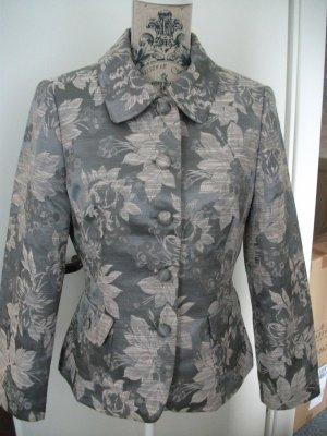 Kurz Jacke / Blazer, mit Blumen Muster, Gr. 36/38, grau - rose