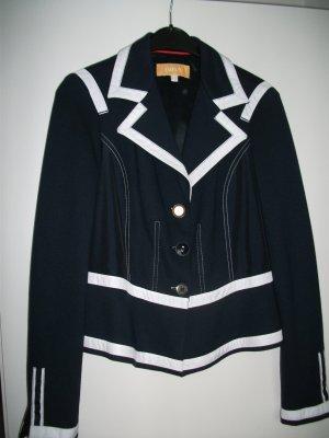 Kurz Jacke / Blazer von BIBA, im Marine Stil, Gr. 36, blau-weiß