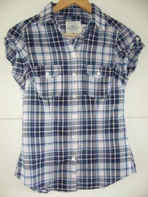 Kurzärmel Holzfällerhemd blau kariert 100 % Baumwolle H&M XS 34