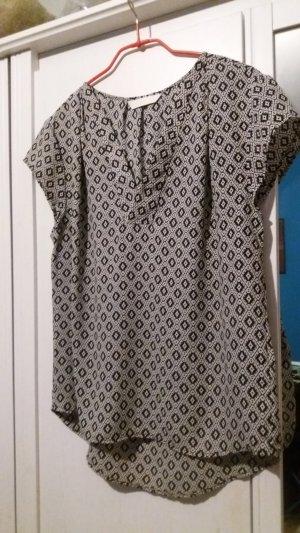 Kurzaermelige Bluse, schwarz/weiss gemustert, H&M conscious