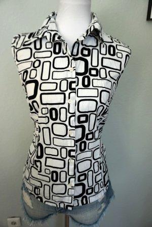 Kurzärmelige Bluse schwarz-weiß in Gr. 38