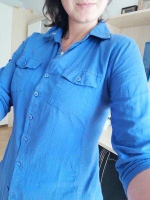active Short Sleeved Blouse neon blue cotton