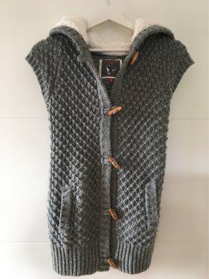 Manguun Short Sleeve Knitted Jacket grey-white