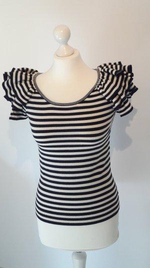 H&M Camisa tejida blanco-azul oscuro