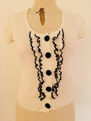 Kurzärmeliger Strick-Cardigan in Weiß mit schwarzen Applikationen (H&M)