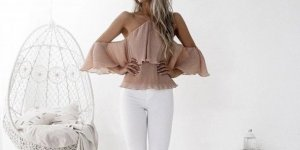 Frill Top multicolored polyester
