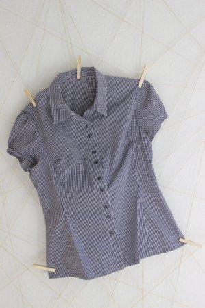 kurzärmellige Karo-Bluse