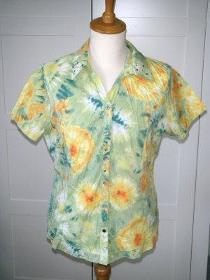 kurzärmlige Bluse, bunt, Muster, grün, gelb, Biba, Gr. 42