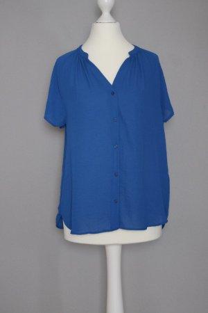 Kurzärmlige Bluse Gr. 36 royalblau mit Knopfleiste vorne