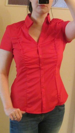 Kurzärmlige Bluse von Esprit – rot, mit Raffung - ungetragen