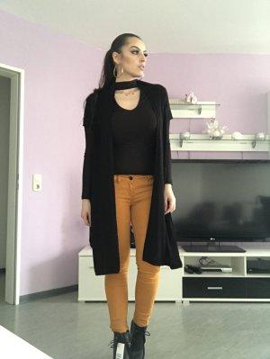 kurzärmliger, langer cardigan in schwarz