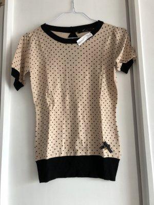 Jersey de manga corta negro-amarillo claro tejido mezclado