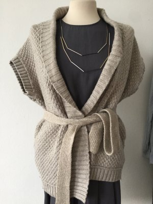 Kurzärmliger Strick Cardigan / Strickjacke mit Band aus Wolle