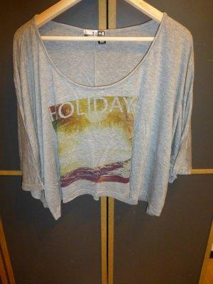 Kurzärmliges graues Oversize Crop Shirt