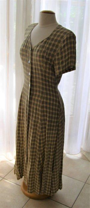 Kurzärmliges midi Kleid in Gelb mit Schwarzen Streifen