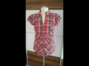 Shirt met korte mouwen framboosrood-zwart