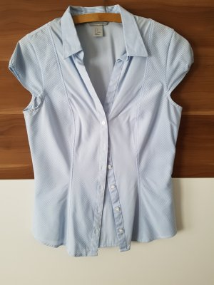 Kurzarm Bluse blau weiß gestreift