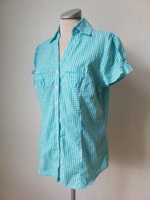 kurzarm Bluse blau weiß kariert Gr. 40 M L Baumwolle Oberteil Tunika