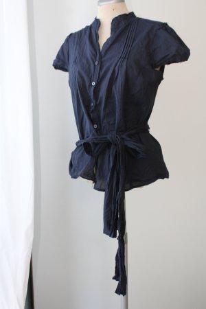 Kurzarm Bluse dunkelblau Gürtel Schleife Wickelbluse Gr. 44 UK 16 XL blau Baumwolle