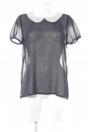Kurzarm-Bluse dunkelblau-weiß Romantik-Look