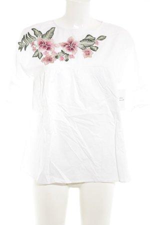Kurzarm-Bluse florales Muster Romantik-Look
