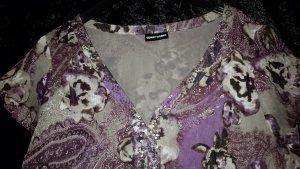 Kurzarm Bluse Gerry Weber neuwertig mit Plissee und Pailletten Größe 40 grau/braun/lilatöne