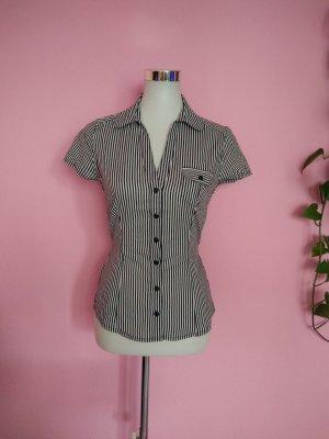 Kurzarm-Bluse gestreift in schwarz/weiß (K4)