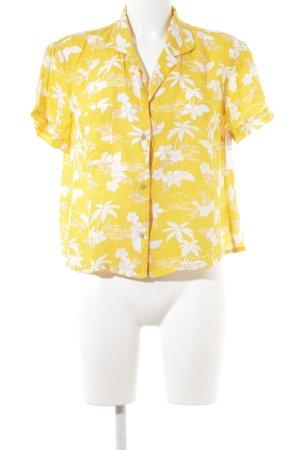 Kurzarm-Bluse goldorange Blumenmuster Beach-Look